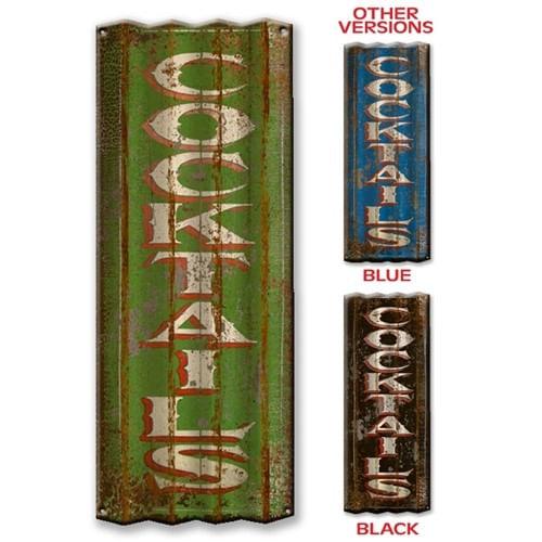 Cocktails Corrugated Metal Bar Sign