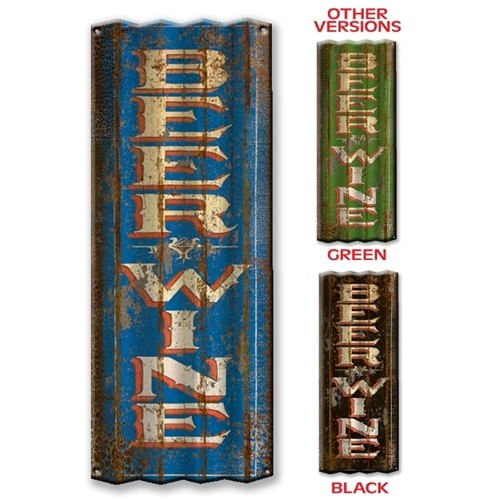 Beer and Wine Corrugated Metal Bar Sign