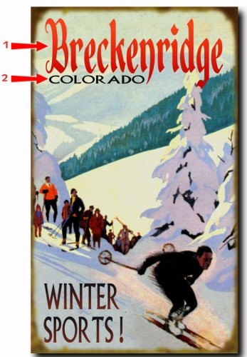 Winter Sports Downhill Skiing Personalized Cabin, Chalet, or Resort Sign
