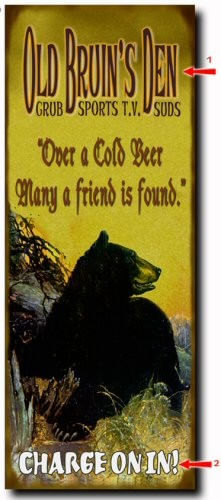 Old Bruins Den Wood or Metal Personalized Sign