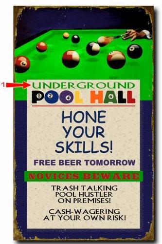 Pool Hall Personalized Billiard Bar Sign