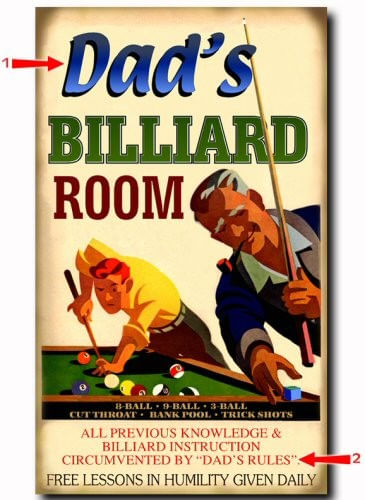 Billiard Room Personalized Sign