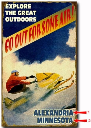 Explore the Great Outdoors Snowmobile Personalized Cabin Sign