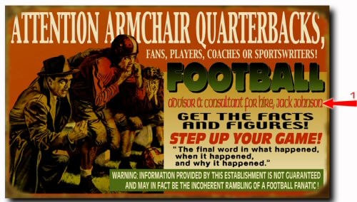 Armchair Quarterback Personalized Football Sign