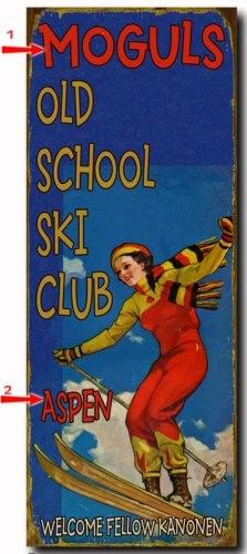 Old School Ski Club Personalized Cabin Sign