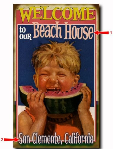 Watermelon Welcome to Beach (Boy) Wood/Metal Personalized Sign