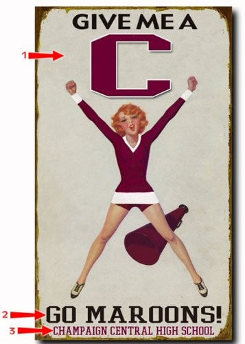 Female Cheerleader Personalized Sign