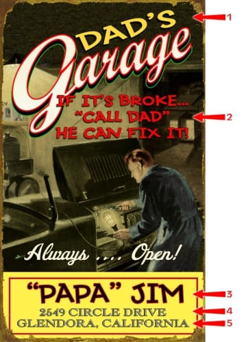 Dads Garage Personalized Retro Style Sign