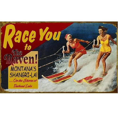 Race You Waterskiing Personalized Lake Sign