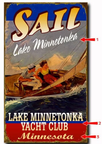 Vintage Sailboat Personalized Lake Sign