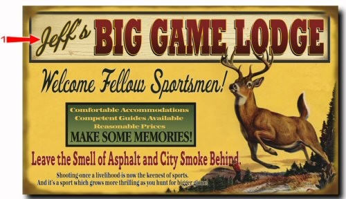 Big Game Lodge Wood or Metal Personalized Sign