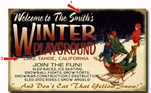 Winter Playground Personalized Cabin Sign
