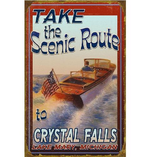 Vintage Motorboat Personalized Lake Sign