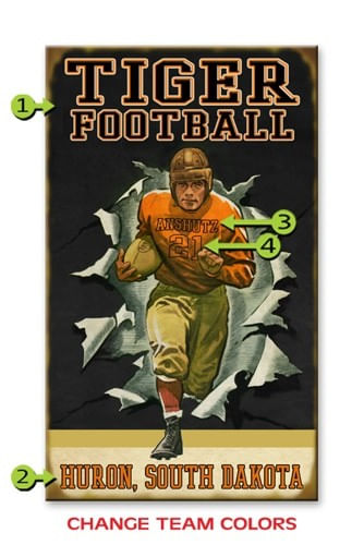 Custom Retro Football Player Personalized Sign