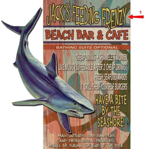 Beach Bar and Cafe Cut Up Shark Personalized Wood Sign
