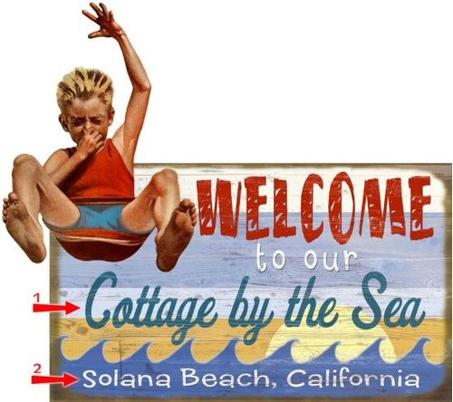 Welcome Cut Up Personalized Beach Sign