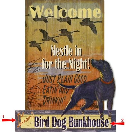 Bird Dog Welcome Cut Up Personalized Wood Sign