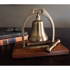 Antiqued Brass Desk Bell With Striker inSecondin