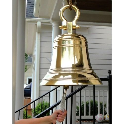 18 Inch Ridged Polished Brass Bell with Shackle - Pre-Order