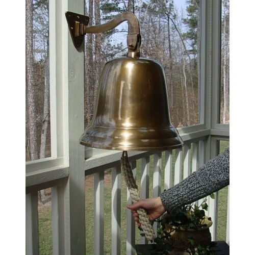 14 Inch Antiqued Brass Wall Bell