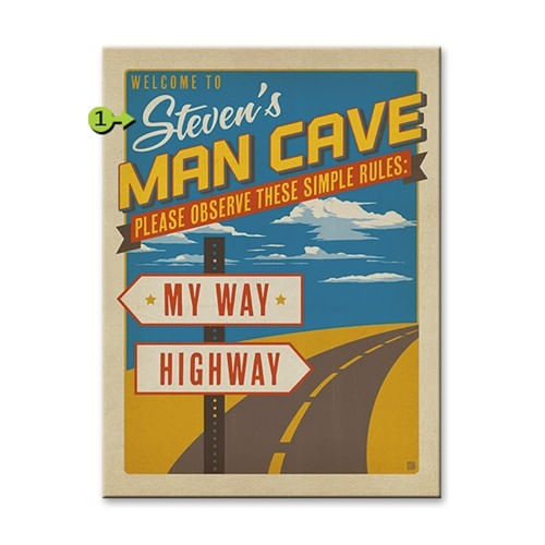 Retro My Way Highway Man Cave Personalized Sign