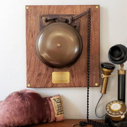 Large Ringside Brass Boxing Bell on Plaque 'Second'