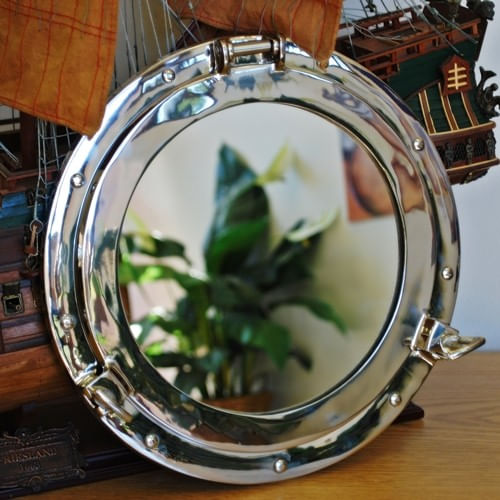 Polished Nickel Brass Porthole Mirror 12 Inch - Second