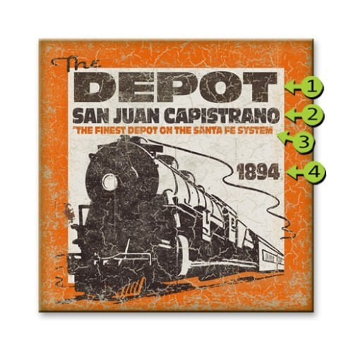 Vintage Train Depot Personalized Sign
