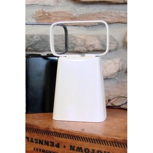 Large Handled Cow Bell -Glossy White