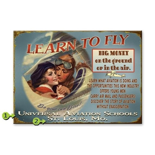 Learn to Fly Personalized Vintage Aviation Sign