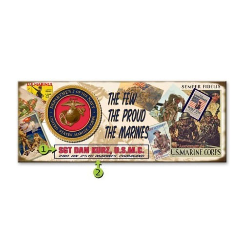 Marine Corps Wood or Metal Personalized Sign