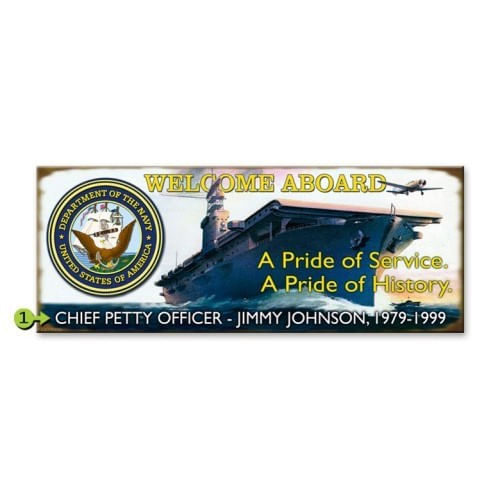 Navy Wood or Metal Personalized Sign