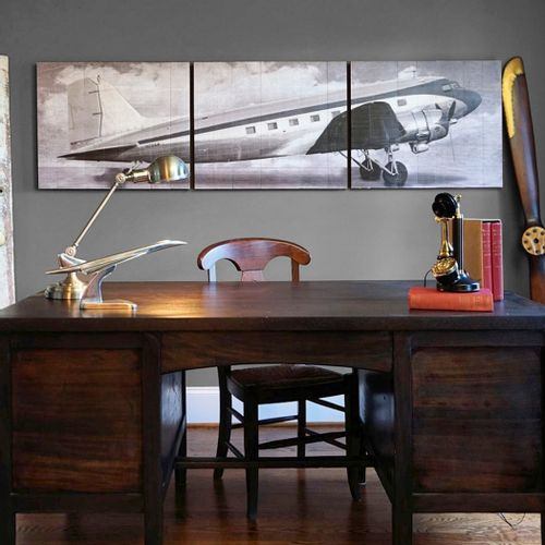 Vintage DC-3 Airliner Wooden Triptych
