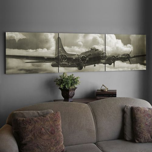 B-17 Flying Fortress Fly By Wood Triptych