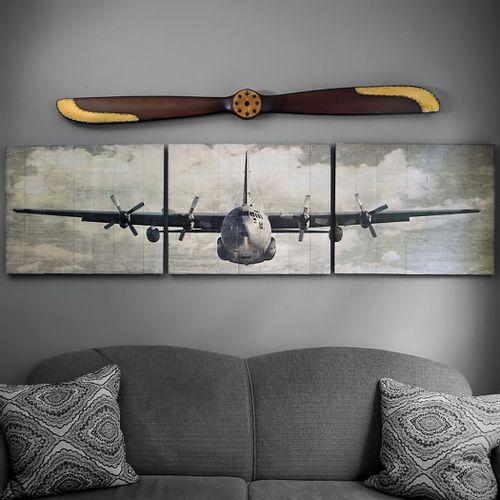 C-130 Hercules Wooden Aviation Triptych