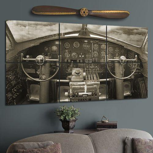 Giant Wood B-17 Cockpit Wall Mural - 36x54