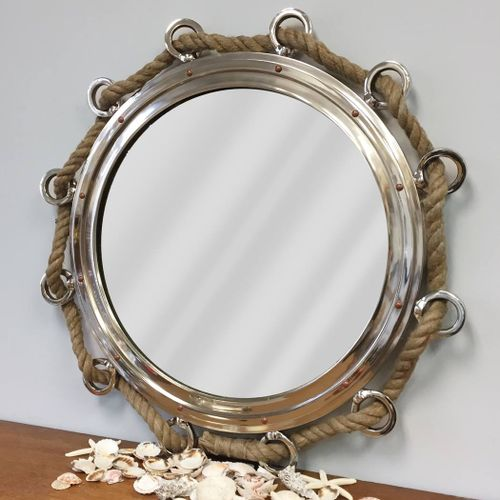 Large Porthole Mirror With Rope 33 Inch