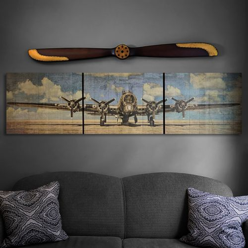 B-17 in Blue Sky Wood Triptych