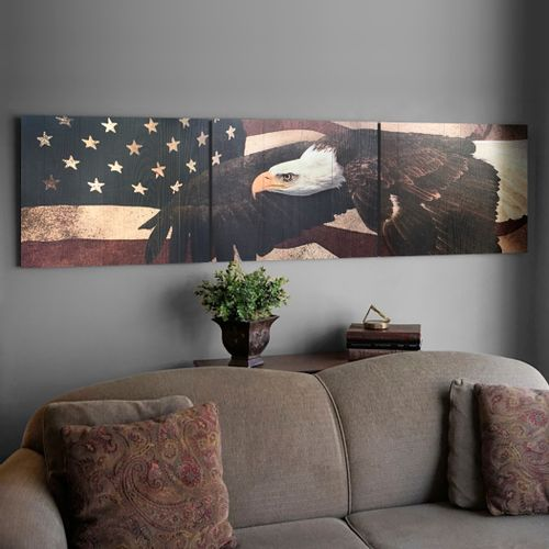 Eagle and Flag Wood Triptych