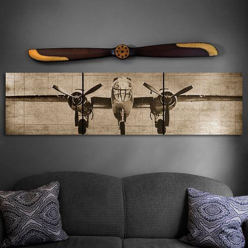 B-25 Bomber Plane Wooden Triptych