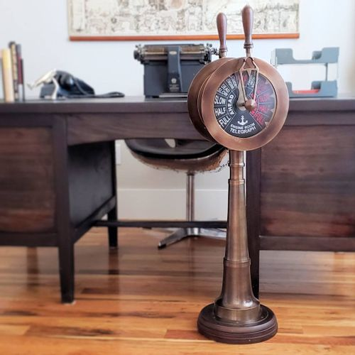 Large Two-Engine Antiqued Brass Telegraph