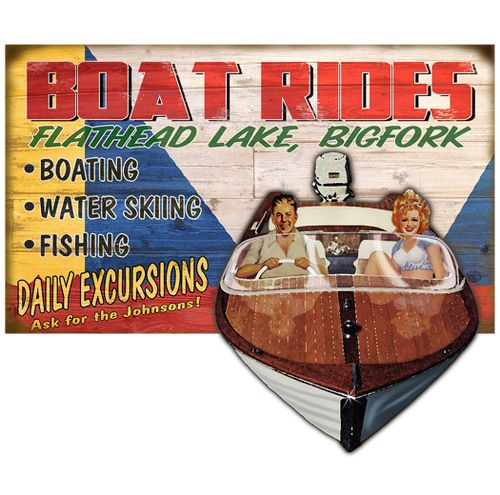 Boat Rides Cut Up Personalized Wood Cabin Sign