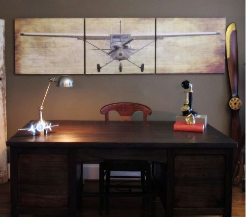 Cessna with Struts Wood Aviation Triptych