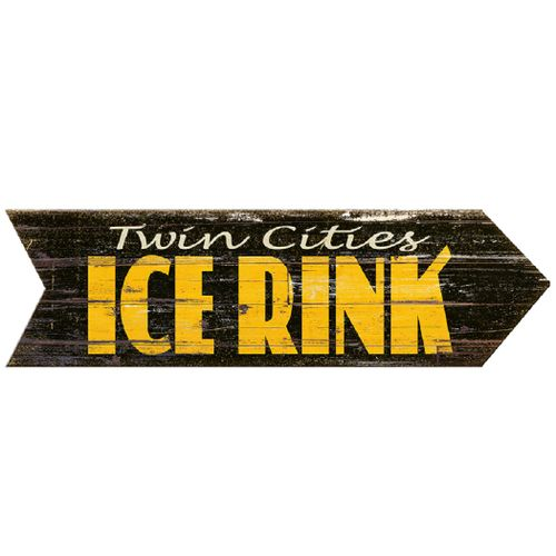 Personalized Ice Rink Vintage Wood Arrow