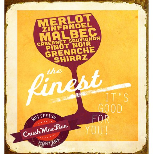 Vintage 'The Finest Red Wine' Personalized Bar Sign
