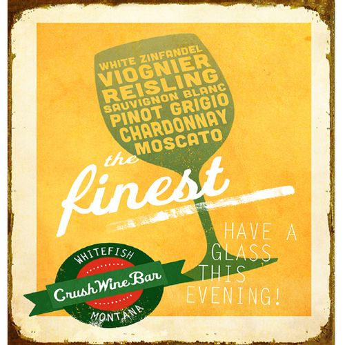 Retro 'The Finest White Wine' Personalized Bar Sign