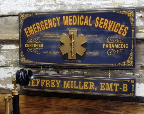 Emergency Medical Services Wood Sign with Optional Personalization