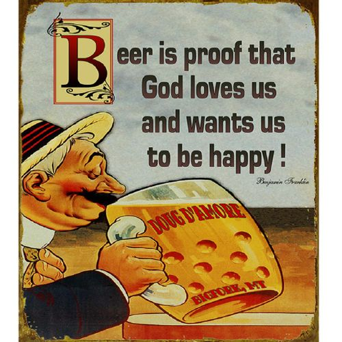 Beer is Proof That God Loves Us Ben Franklin Personalized Bar Sign
