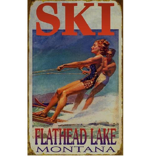 Water Ski Couple Personalized Lake or Cabin Sign