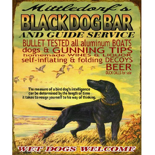 Black Dog Bar & Duck Hunting Personalized Cabin Sign